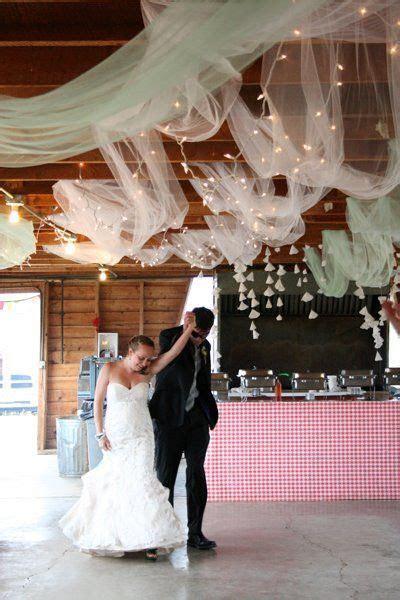 tulle & string lights ceiling : wedding barn decor diy