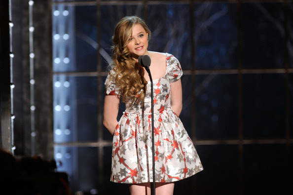 Chloe Moretz Actress Chloe Moretz speaks onstage at the First Annual Comedy Awards at Hammerstein Ballroom on March 26, 2011 in New York City.