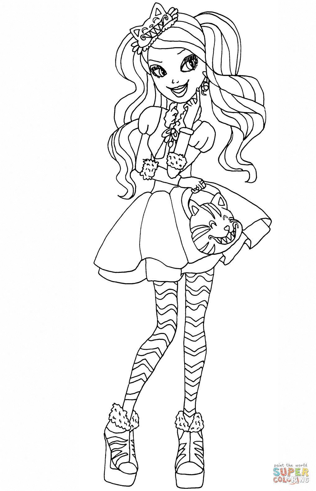 Coloriage Ever After High Kitty Cheshire Coloriages à Imprimer