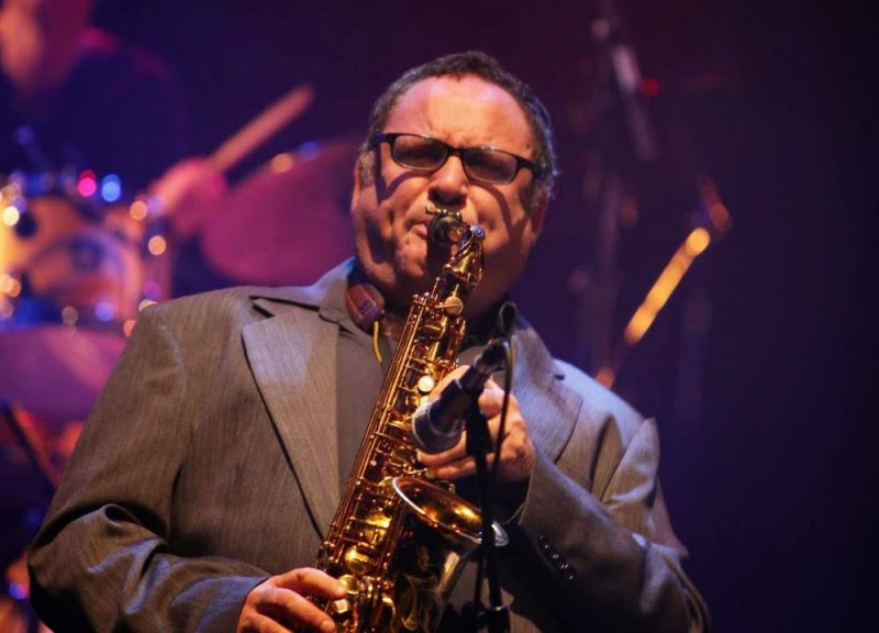Gilad Atzmon playing a saxophone. Atzmon, an Israeli-born journalist, holds outspoken and controversial views on Zionism.