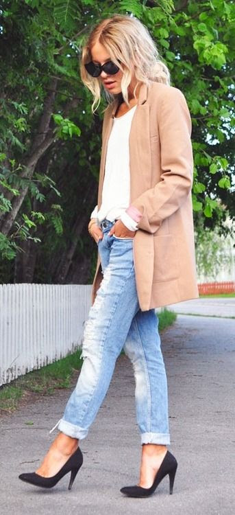 jacket + jeans + heels.