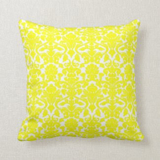 Vintage Floral Yellow Damask Seal Pillow