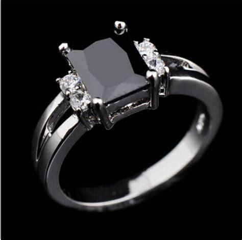 Women's Black Sapphire White Gold Filled Wedding Band Ring