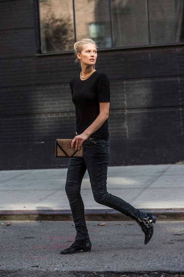 Le Fashion Blog -- Toni Garrn Closed Denim Collection -- Model-Off-Duty Style: Black Tee, Cheetah print Clutch, Moto Biker Jeans & Buckle Boots -- Via Sandra Semburg -- photo Le-Fashion-Blog-Toni-Garrn-Closed-Denim-Collection-Model-Off-Duty-Style-Black-Tee-Moto-Biker-Jeans-Buckle-Boots-Via-Sandra-Semburg.jpg