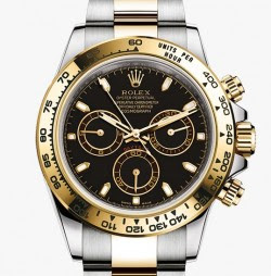 Rolex Black and Gold