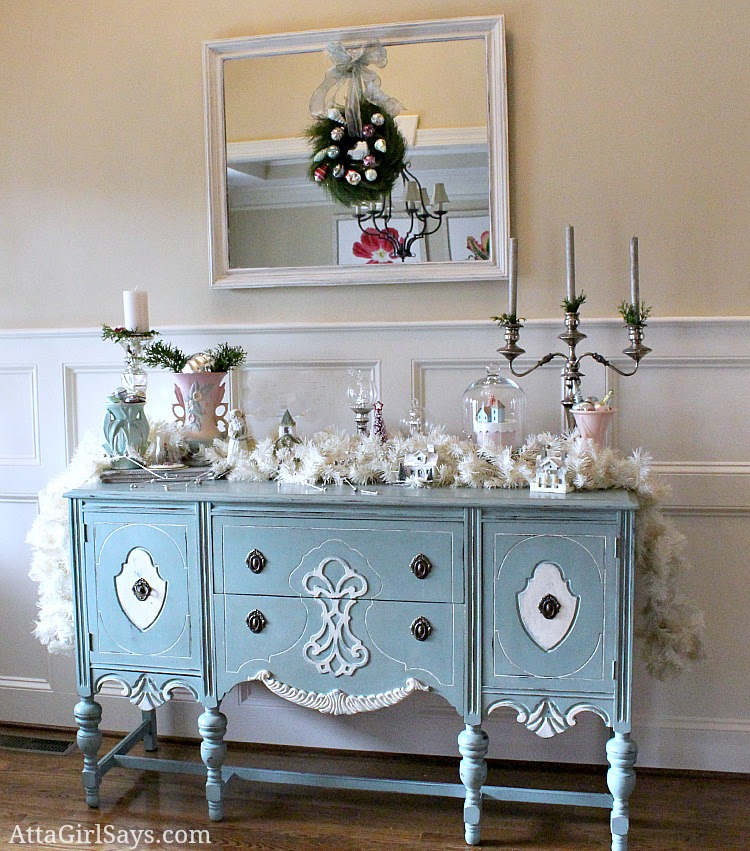 handpainted vintage buffet decorated in pastels for Christmas by AttaGirlSays.com