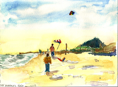 Flying kites at the beach, East Hampton, New York