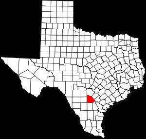 Map of Texas highlighting Atascosa County