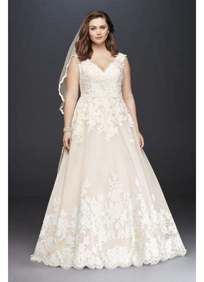 Scallop V Neck Lace Tulle Plus Size Wedding Dress   David