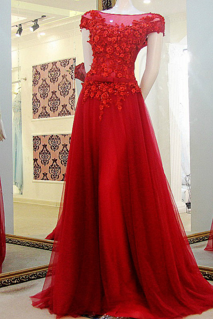 cap sleeve red prom dressappliques off the shoulder tulle