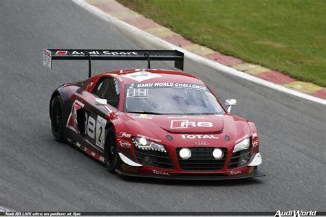 Audi R8 LMS ultra on podium at Spa audiWorld