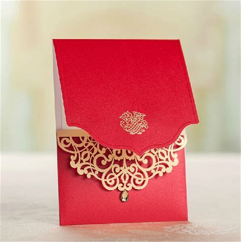 50pcs/lot latest indian wedding card design, laser cut