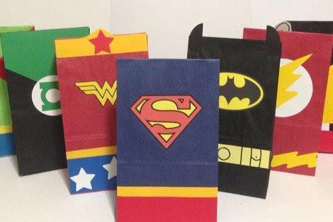 bolsitas de cumpleaños de superhéroes