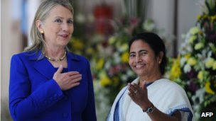 "US Secretary of State Hillary Clinton (L) talks with India""s West Bengal state Chief Minister Mamata Banerjee at the Writers"" Building, which houses the state secretariat, in Kolkata on May 7, 2012."