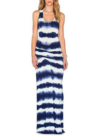 Maxi Dress   Blue White Tie Dyed Style