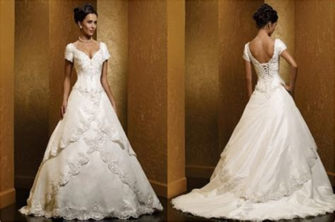 Off shoulder wedding dresses with cap sleeves.