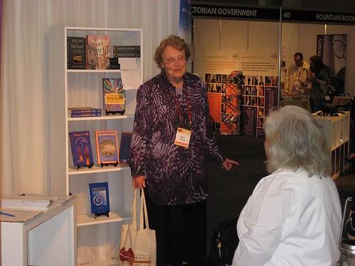 Mary Braybrooke in conversation at the Brahma Kumaris / WCF / IIC booth