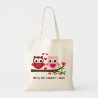 Cute Owl Couple Personalized for Wedding Canvas Bags
