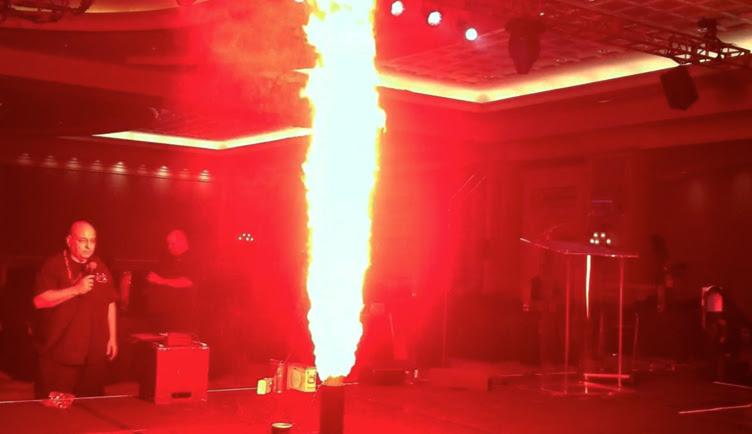 indoor pyrotechnics  flame projector demo