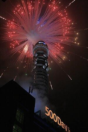 BT Tower (London) seen during a firework displ...