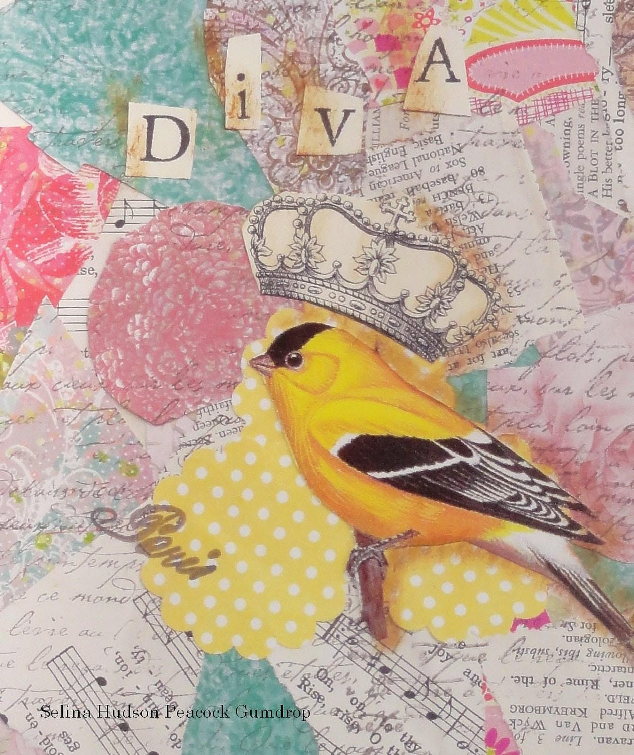 DIVA yellow bird collage digital prin t- printable uprint words vintage style paper old pdf 8 x 10 frame saying