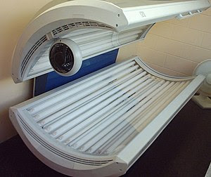 A sunbed, with lights off