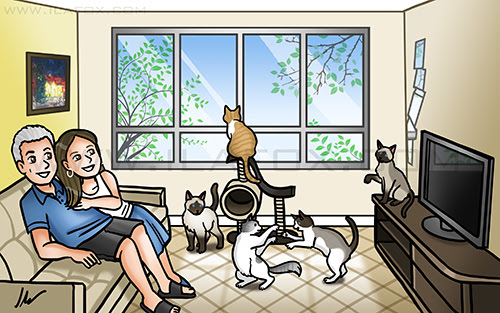 caricatura desenho, caricatura casal, caricatura gatos, caricatura na sala, caricatura divertida, by ila fox