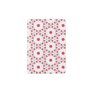 Passport Holder with Red and White Abstract Design