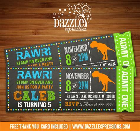 Printable Dinosaur Chalkboard Ticket Birthday Invitation