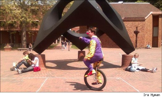 Clown on a Unicycle Goes Unnoticed by Cell Phone Users
