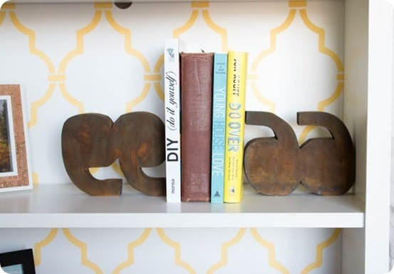 DIY Home Decor | Rusted Metal Quotation Mark Bookends ~ Turn a piece of scrap wood into Anthropologie knock off bookends for practically nothing!