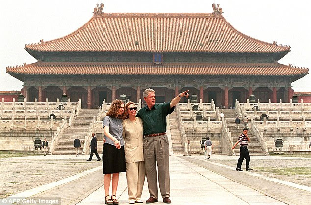 History: First families going back to Richard Nixon have visited China on diplomatic trips, including the family of Bill Clinton, seen here
