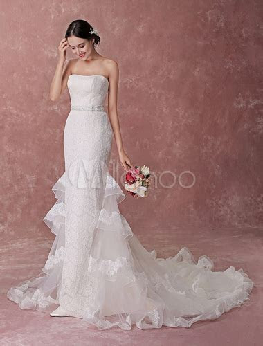 Mermaid Wedding Dresses Champagne Strapless Lace Beading