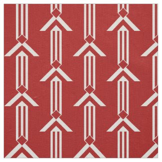 White Stripes and Chevrons on Red Fabric