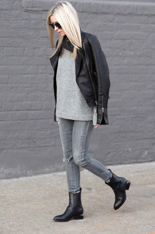Le Fashion Blog Blogger Style Leather Jacket Oversized Grey Sweater Distressed Skinny Jeans Alexander Wang Ankle Boots Via FIGTNY
