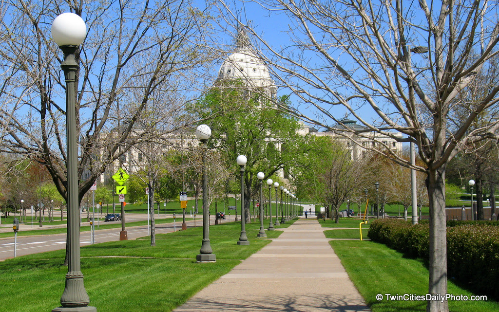 This was taken earlier in the spring, but the path leads up the the Minnesota State Capital Building. You can just make out the top portion.