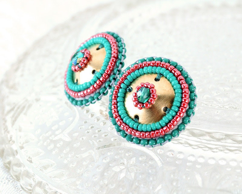 Turquoise red gold stud earrings - turquoise green ruby red spring summer jewelry unique gift - statement jewelry tribal earrings - exquisiteartistry