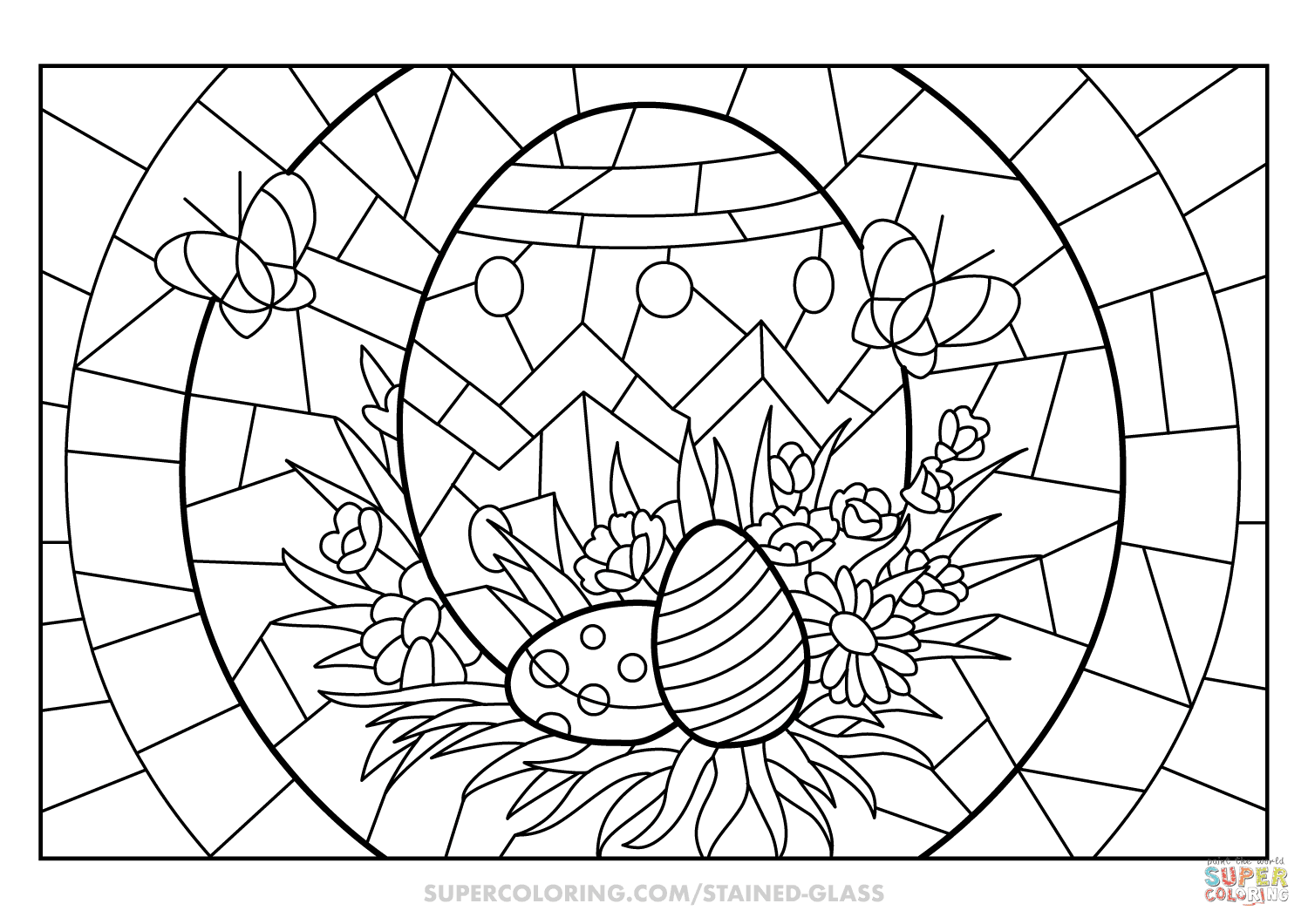 Easter Eggs Stained Glass coloring page | Free Printable ...