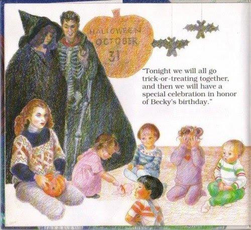 """No dia do Halloween (também conhecido como o dia de Samhain, que é acreditado para ser um dia em que o véu com o mundo espiritual é o mais fino), os professores estão vestidos como uma bruxa e um esqueleto.  """"O aniversário do Becky"""" será realmente um ritual oculto."""