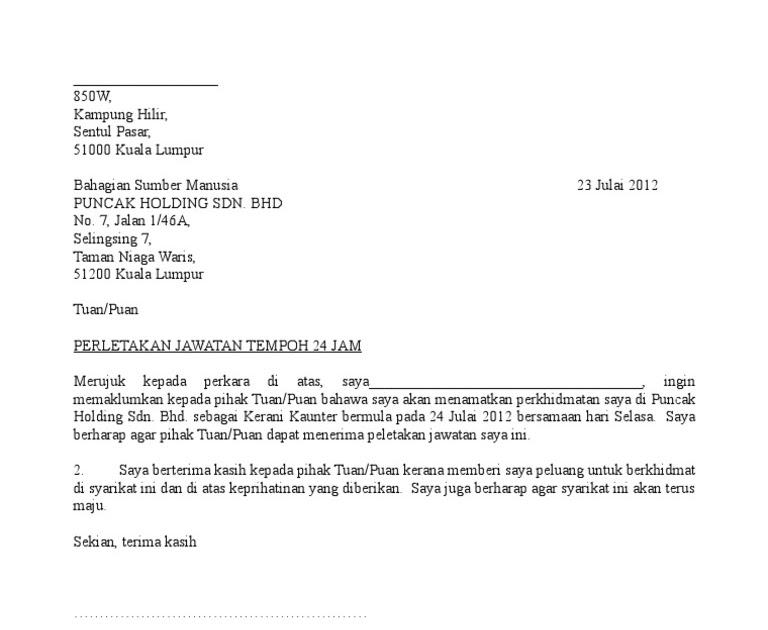 Surat Perletakan Jawatan Rasmi Doc Surat Rasmi Y