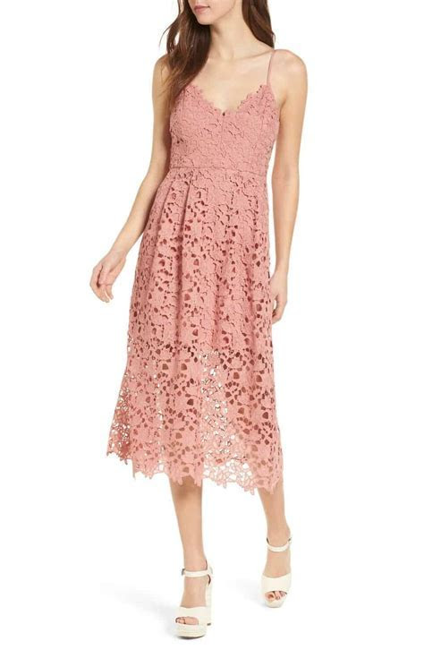 Dusty Pink Lace Midi Dress for a Wedding Guest   Dress for