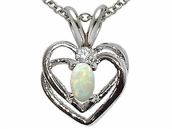 Tommaso Design Genuine Opal and Diamond Heart Pendant White Gold