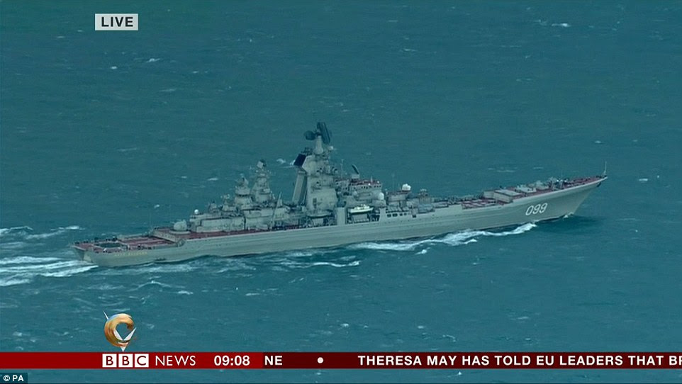 The Russian fleet, including the guided missile battle cruiser Peter the Great, is passing Dover this morning, pictured having steamed through the night on their way to Syria
