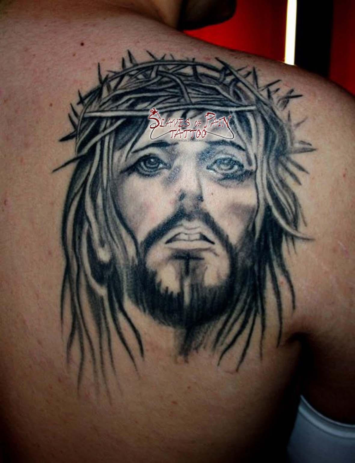 Right Back Shoulder Jesus Tattoo