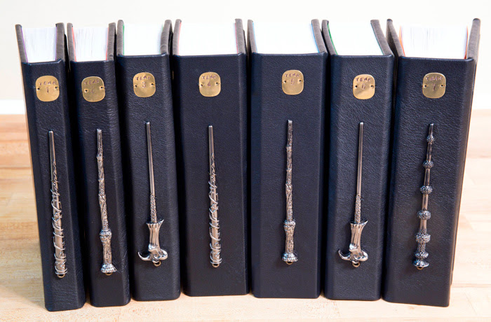 Custom Harry Potter Leatherbound Books with Horcrux Bookmarks