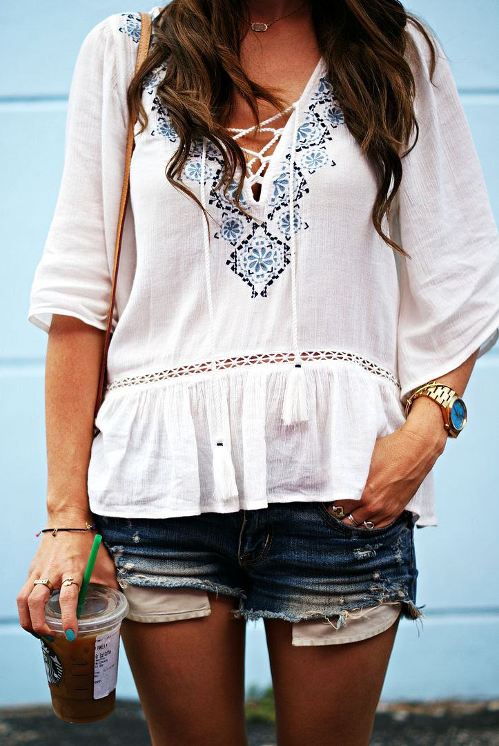 Lace-up peasant blouse