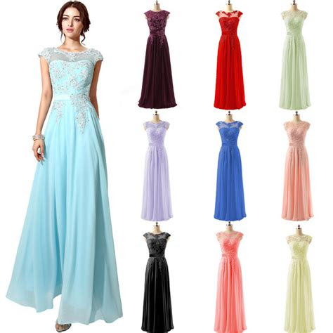 long women formal bridesmaid party lace applique dresses