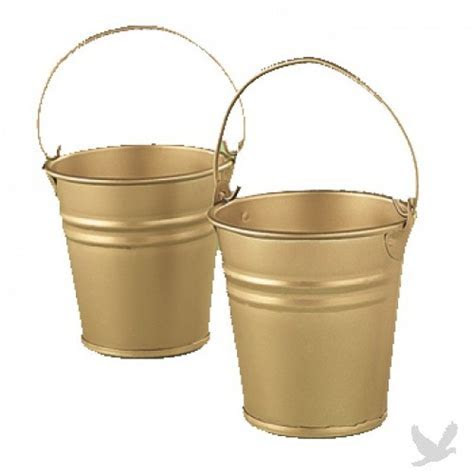 Metal Gold Mini Favor Buckets [F 3 1228 Gold Mini Favor
