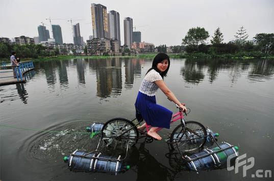 floating bike, Do-it-youtself  project, prototype floating bike, chinese bike