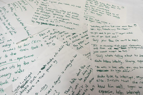 Handwritten notes for my new film EXHALATION